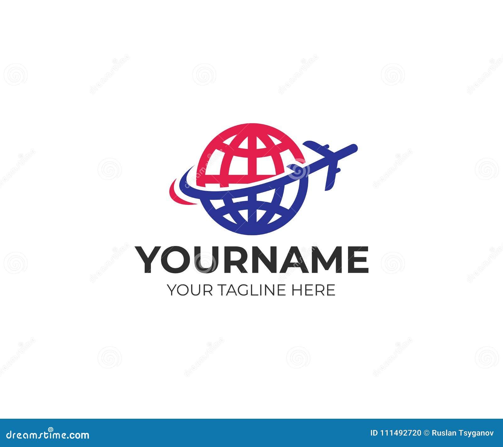 飞机在行星地球商标模板附近飞行 旅行和飞行的平面传染媒介设计