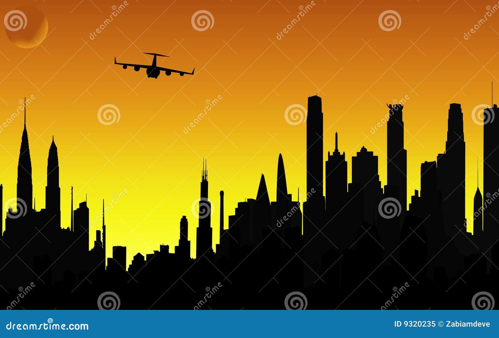 飞机城市现出轮廓向量