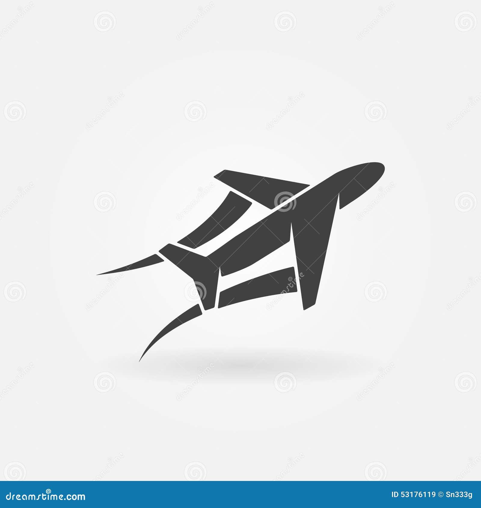 飞机象或商标-导航黑平面标志概念.