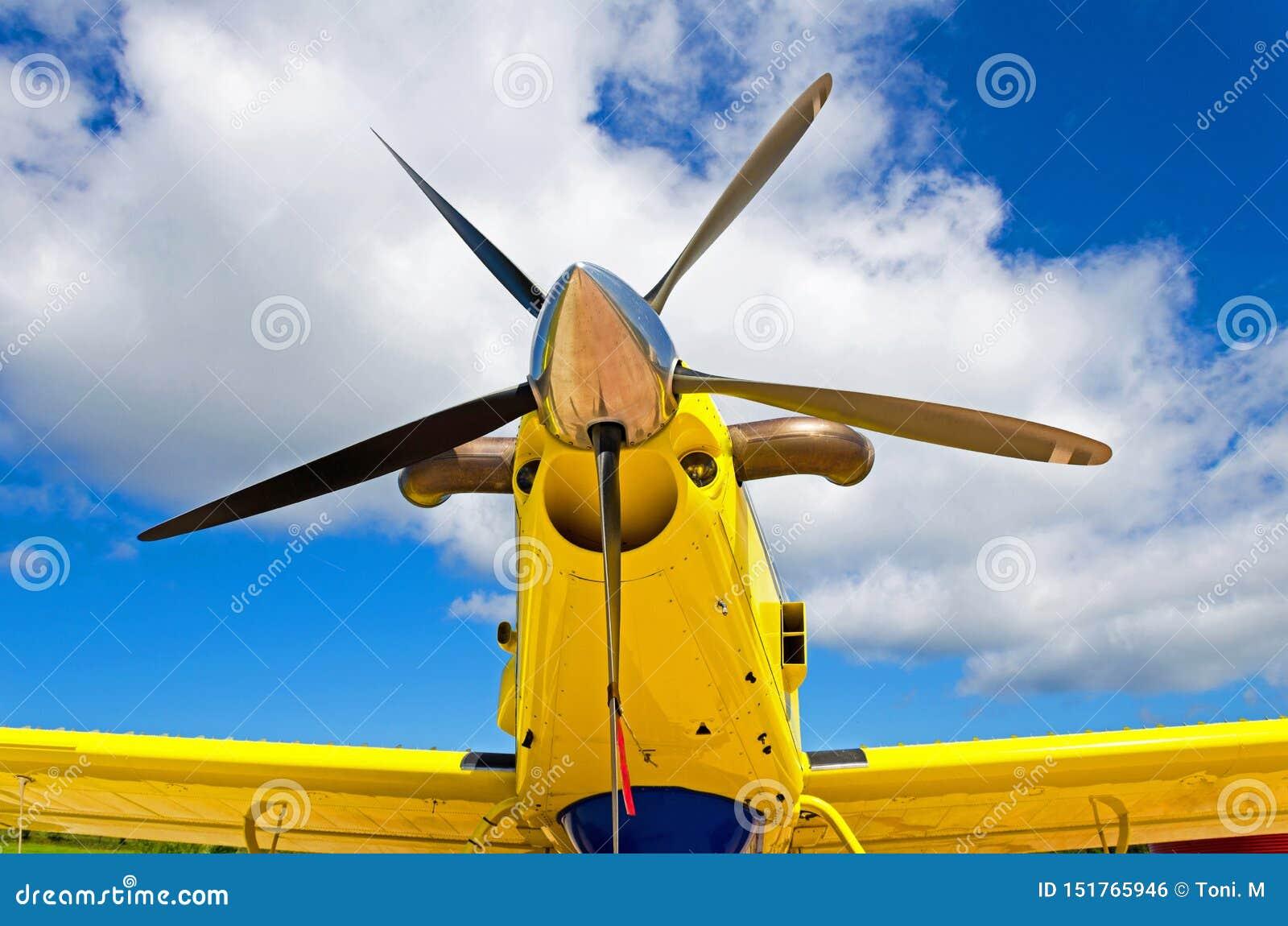 飞机推进器,有螺旋桨叶片的马达