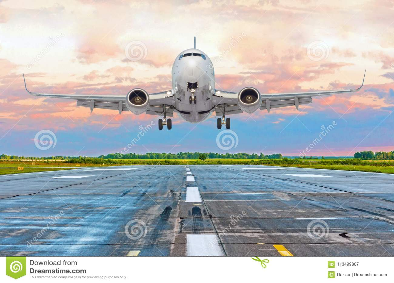 飞机飞行在一条跑道的到来着陆在明亮的桃红色日落期间的晚上