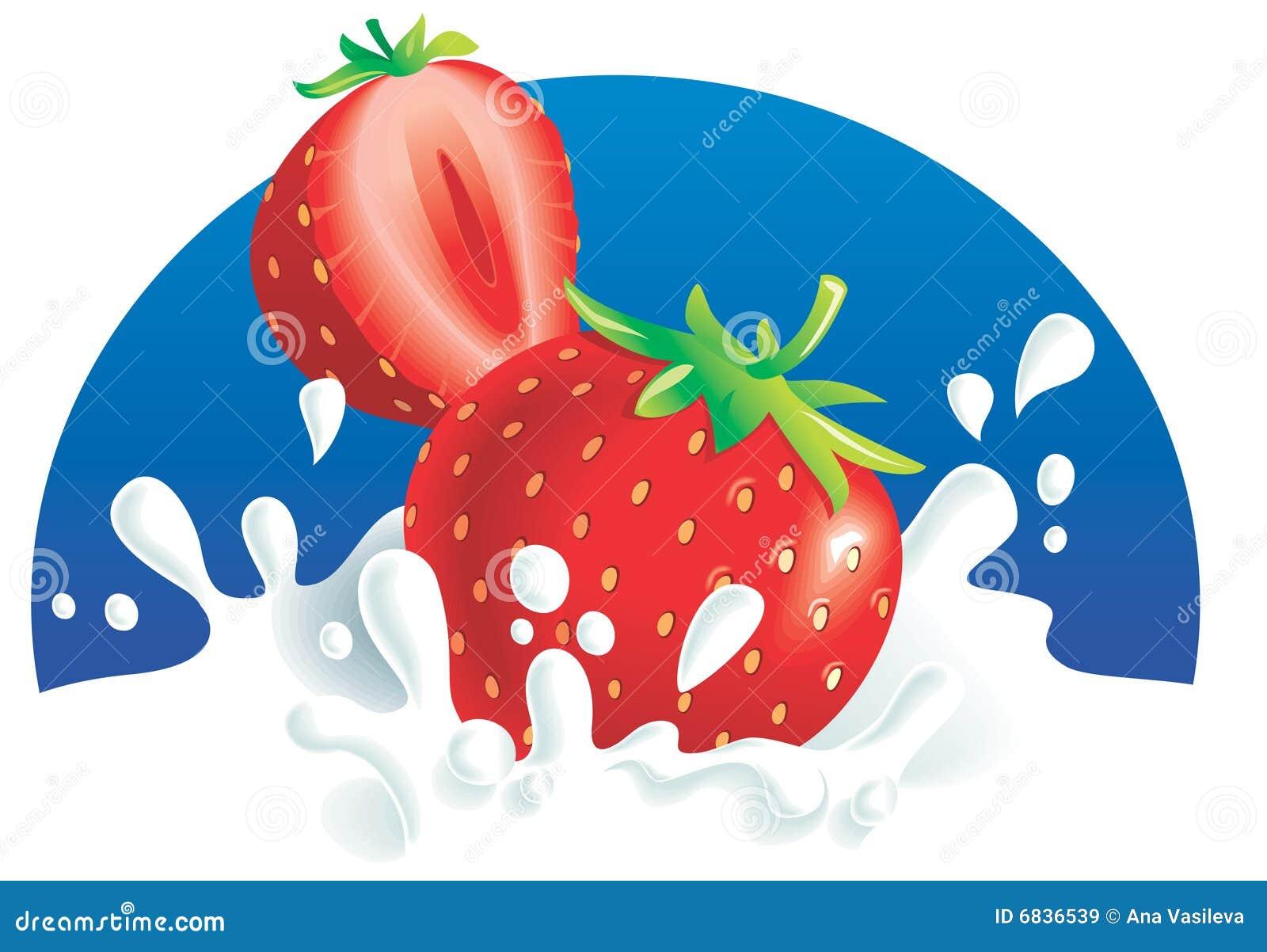 飞溅草莓的牛奶