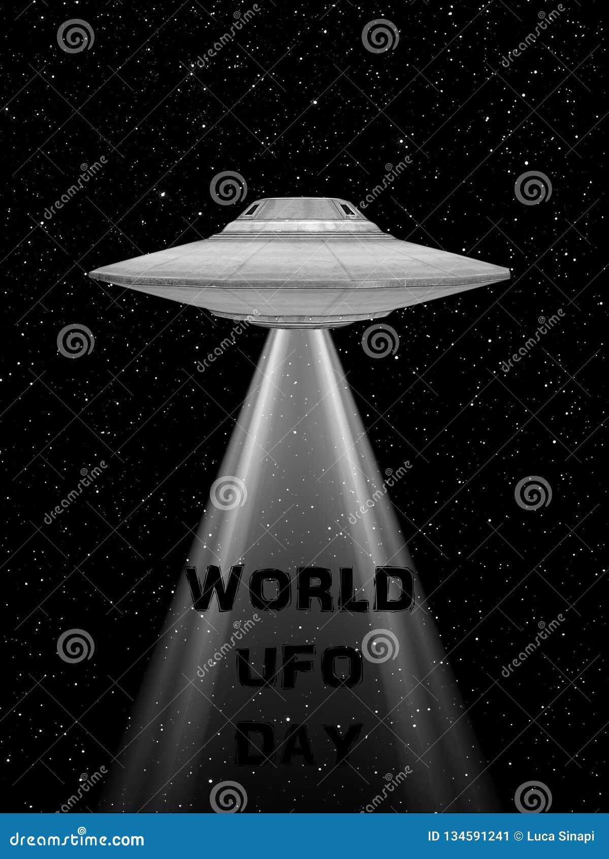 飞碟飞行太空飞船 世界飞碟天 飞碟 与光的rappresentation和飞碟