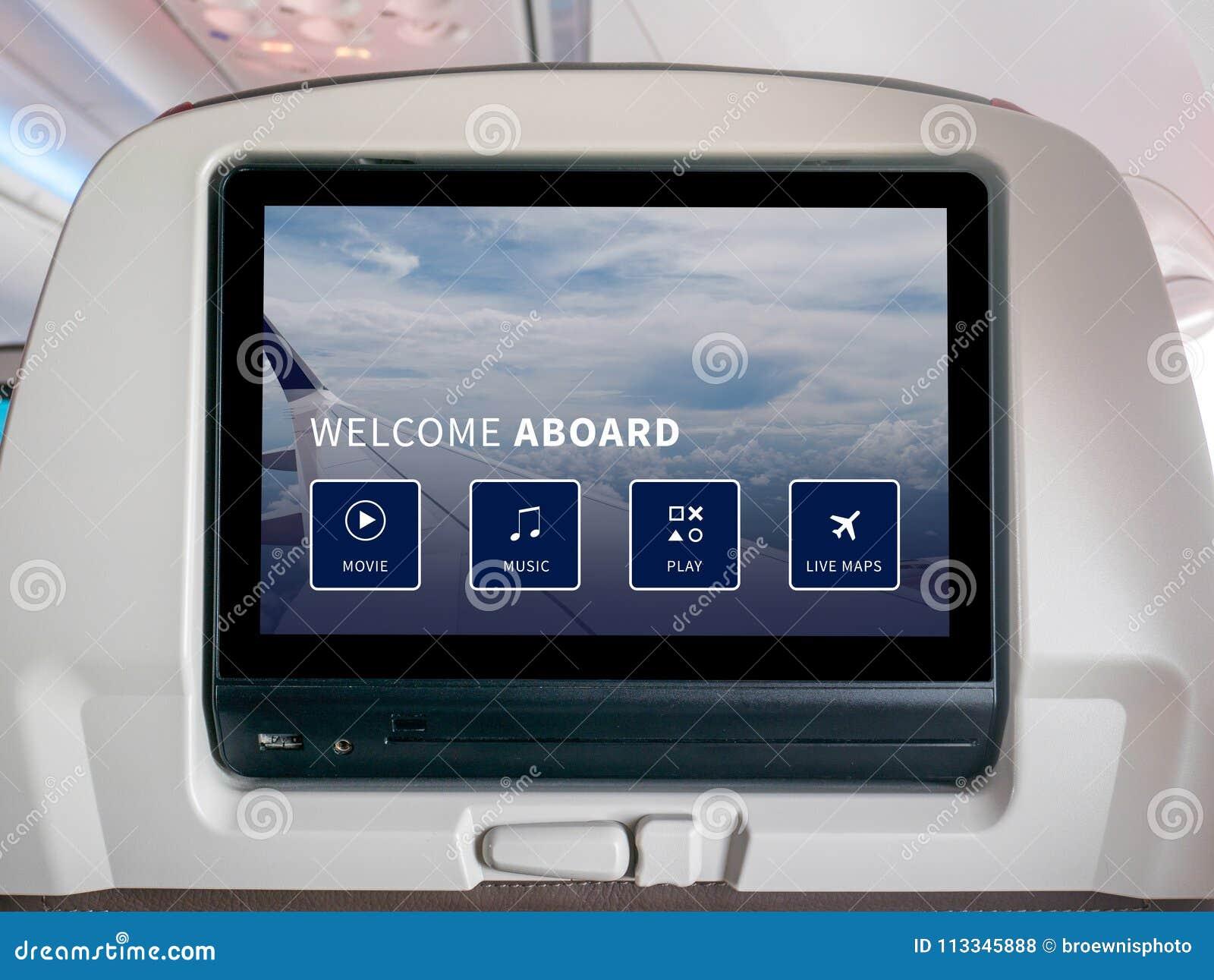 飞行中娱乐屏幕,飞行中屏幕,在飞机的Seatback屏幕