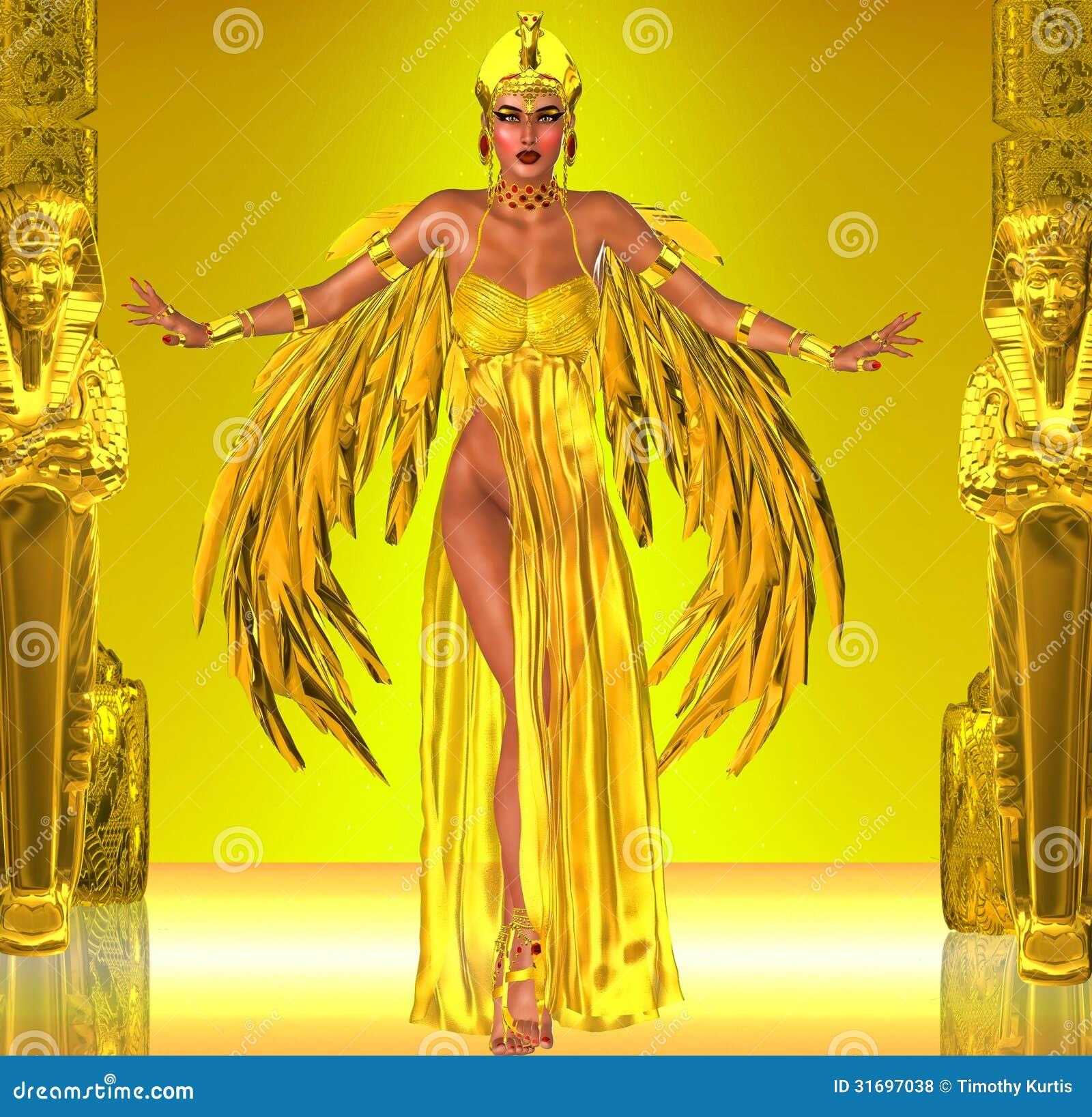 装饰在有金黄翼的一件富有的金礼服;这位埃及女王/王后准备飞行入法老