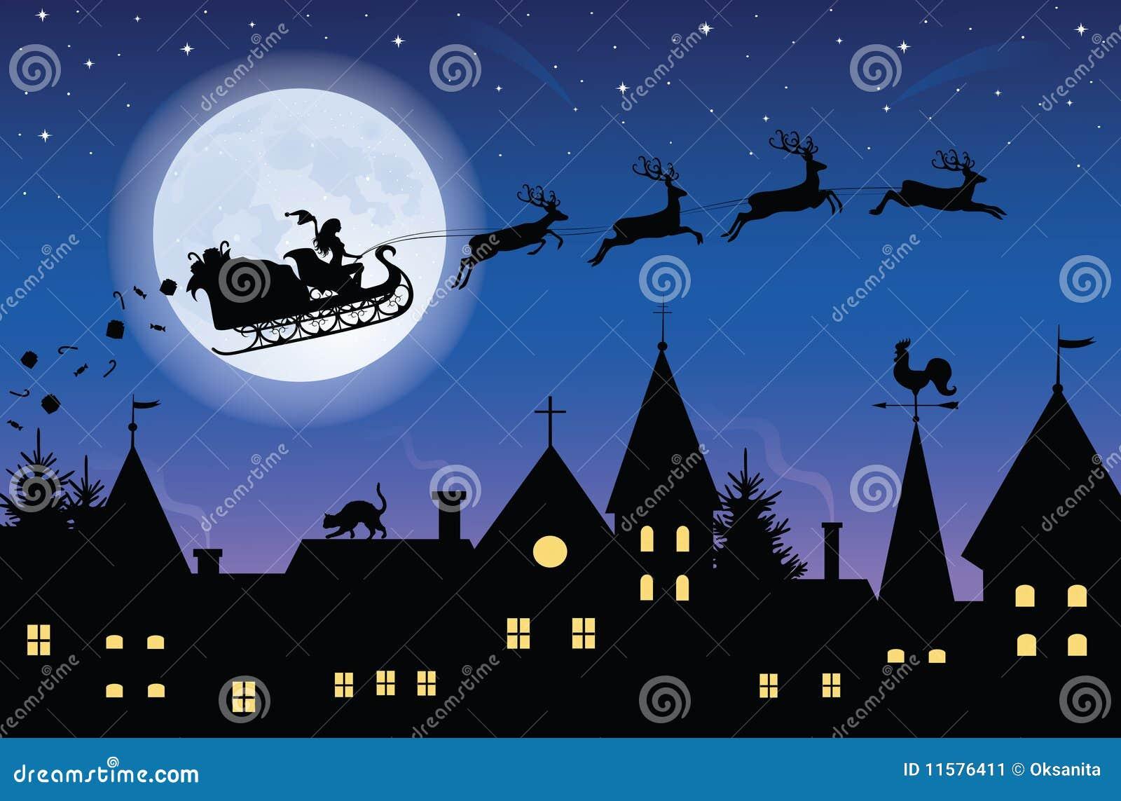 飞行圣诞老人妇女