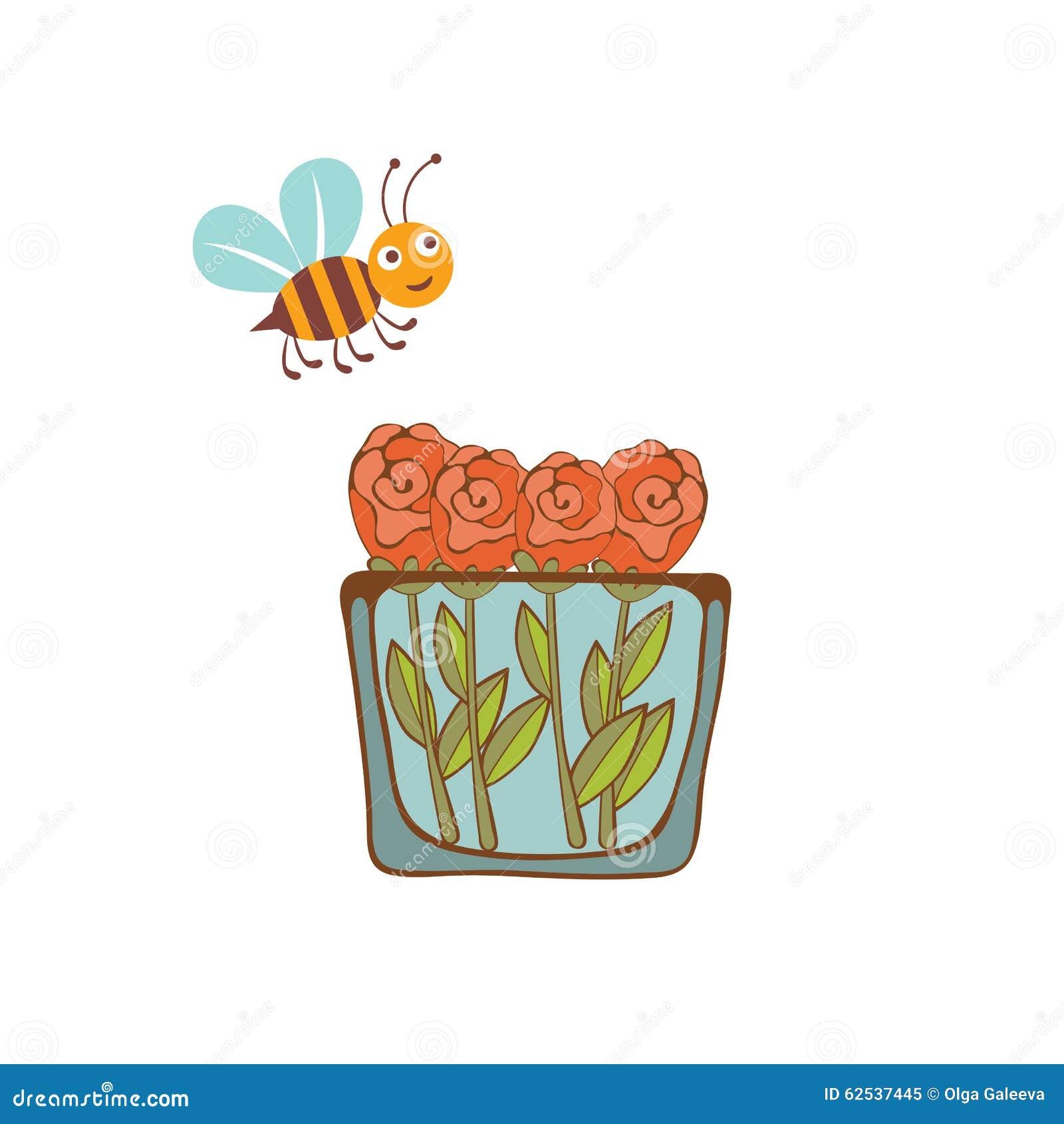 飞行在一个花瓶的蜂的例证与
