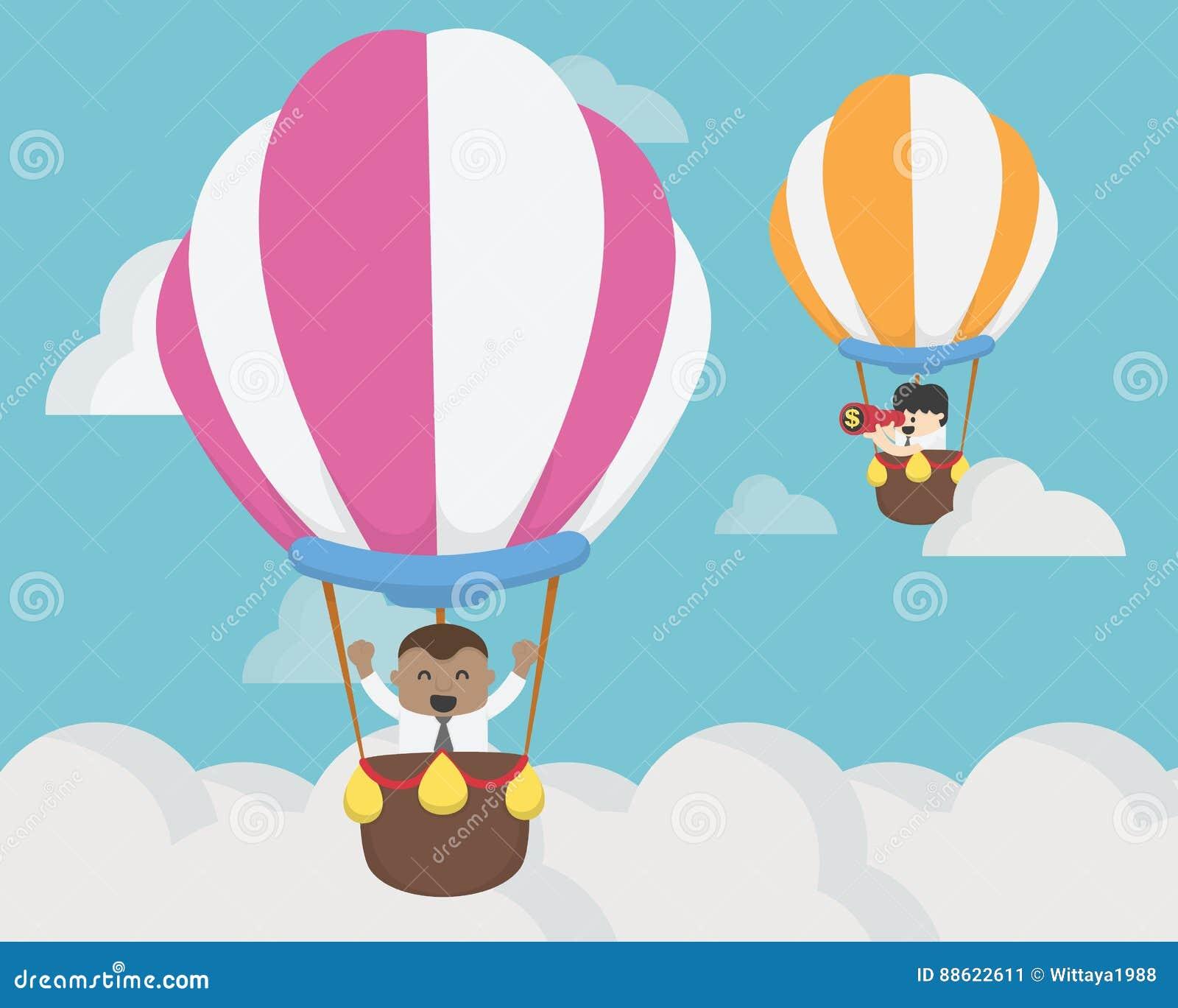 飞行在气球挑战概念的商人两
