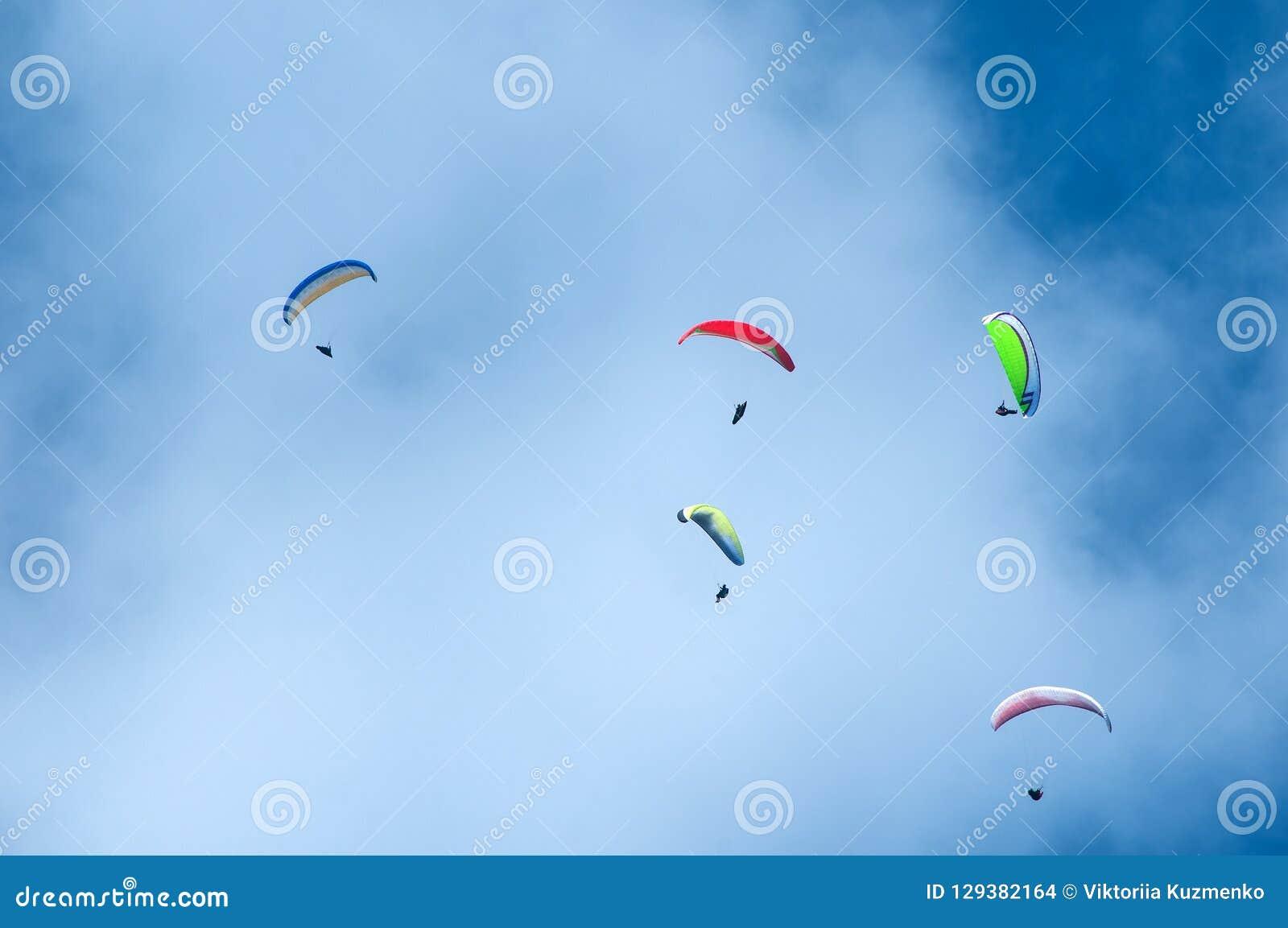 飞行在蓝天的小组滑翔伞以云彩为背景 在天空的滑翔伞在一个晴天