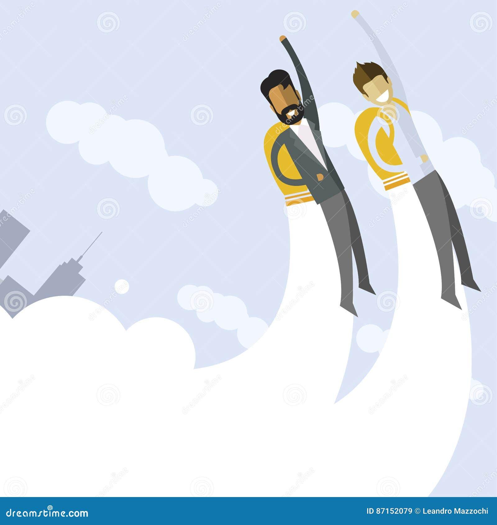 飞行在jetpacks的愉快的商人到他们的目标