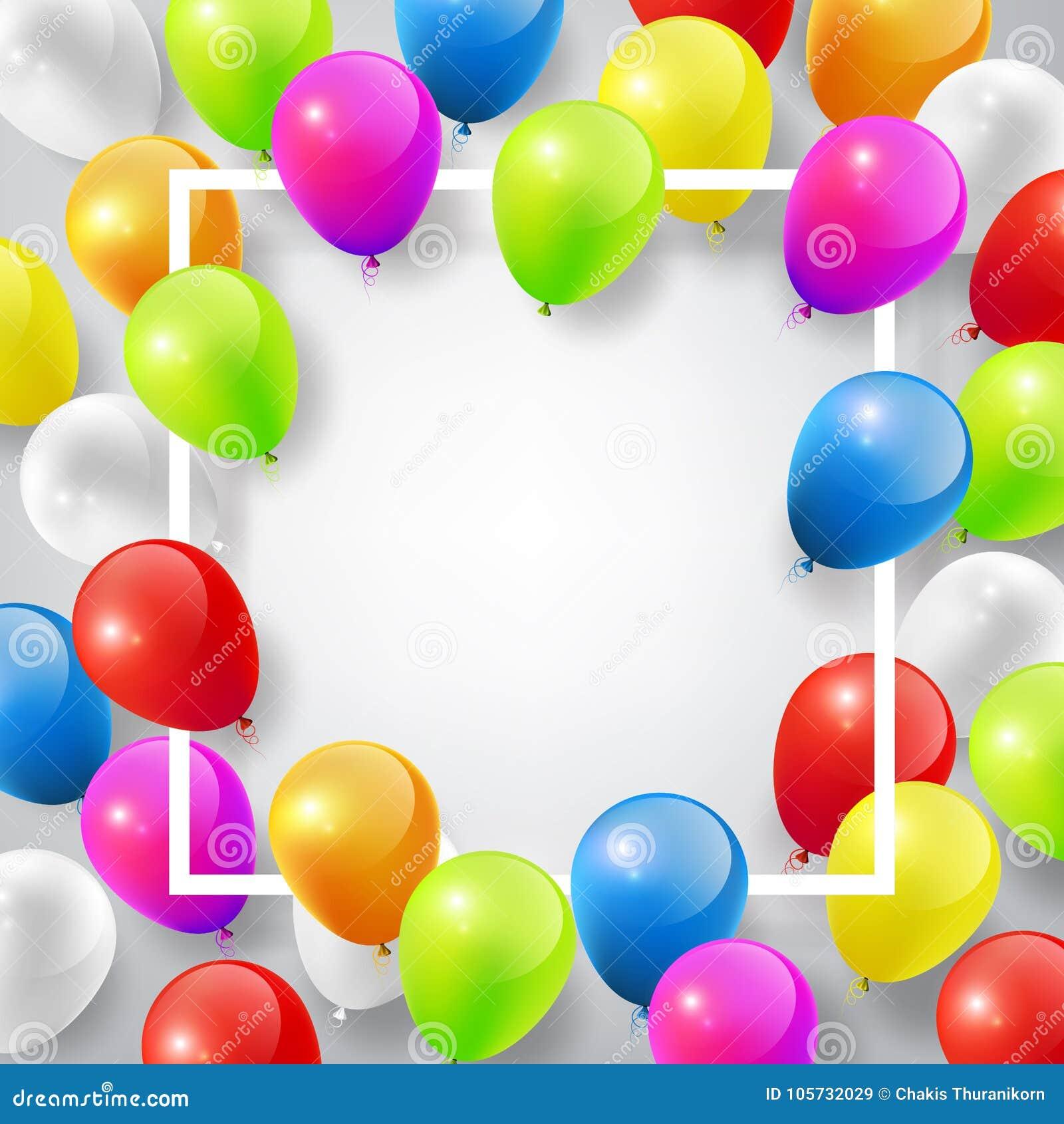 飞行有方形的白色框架的现实光滑的五颜六色的气球的设计模板,庆祝在白色背景的概念