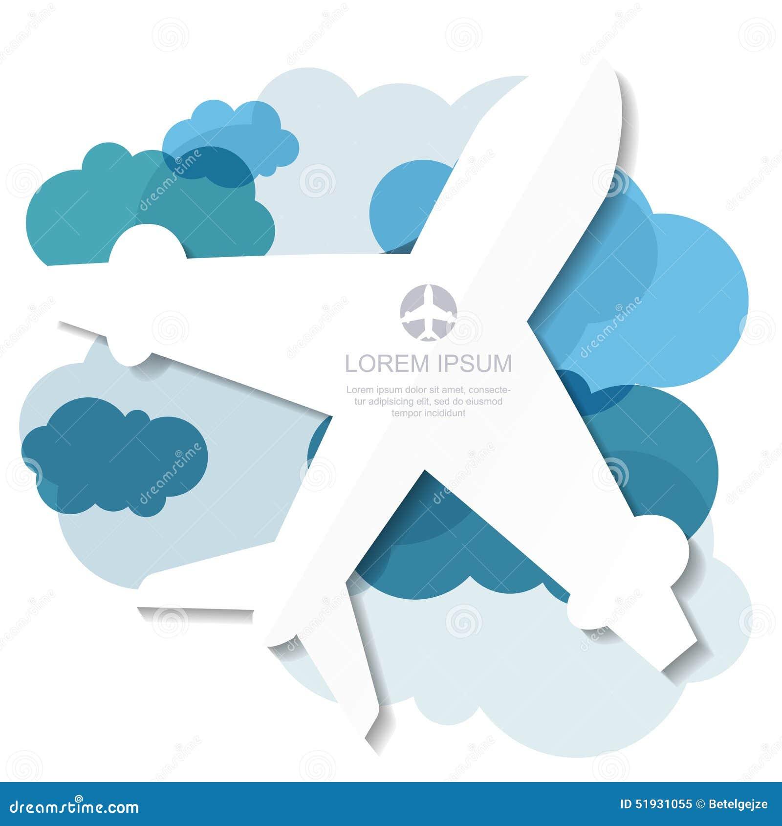 和�9�e����il�`f��,_飞行飞机剪影和蓝色云彩背景 传染媒介il