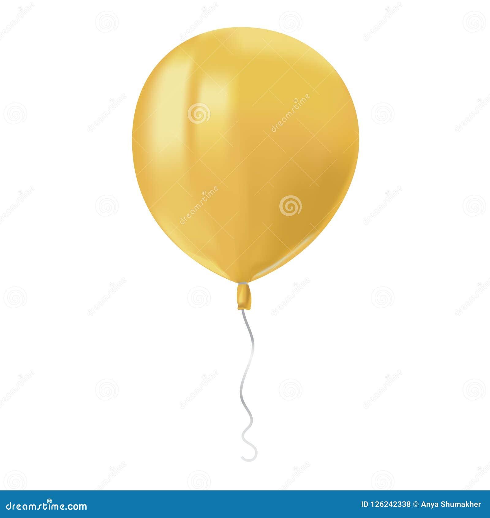 飞行黄色气球与的现实空气在白色背景反射隔绝 欢乐装饰元素为任何假日 传染媒介illu