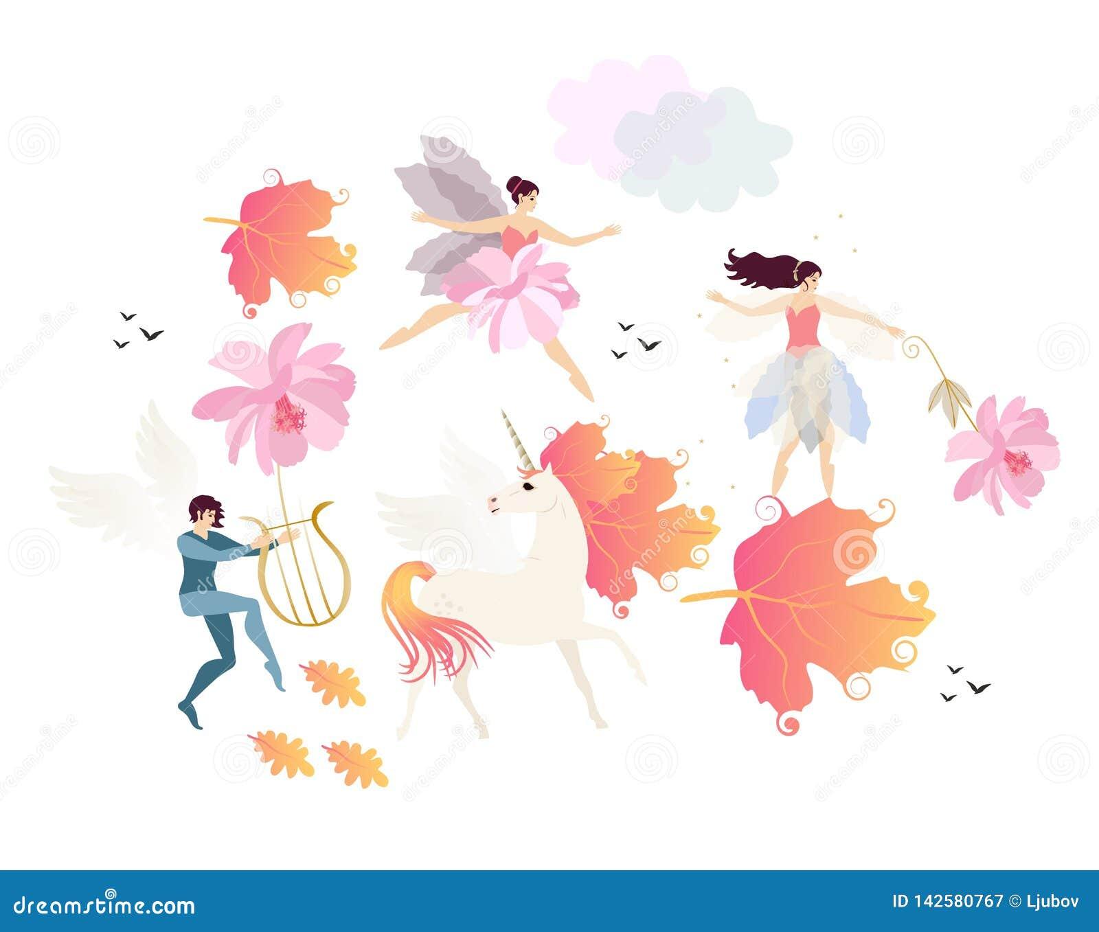 飞过的矮子播放里拉琴、独角兽与鬃毛在秋叶形状,神仙、芭蕾舞女演员、云彩、鸟和桃红色花