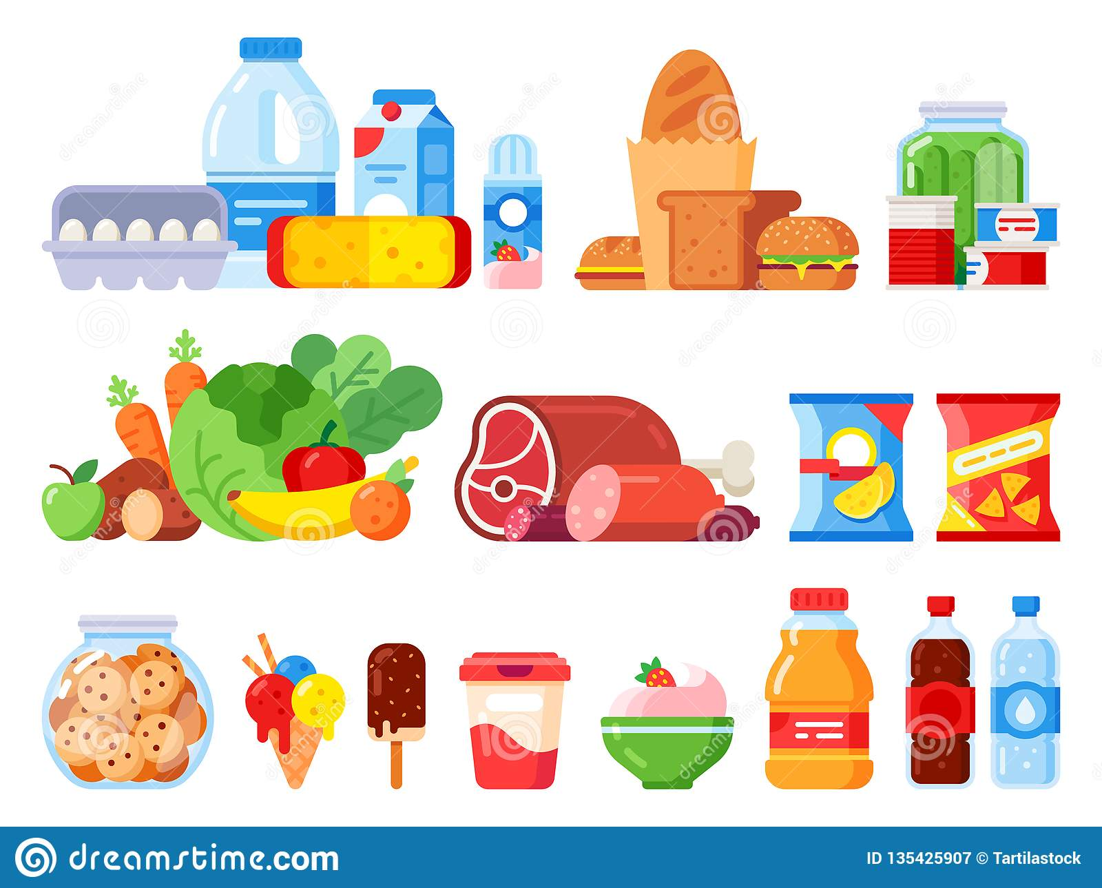 食品 包装烹调产品、超级市场物品和罐头 饼罐、打好的奶油和鸡蛋平展包装