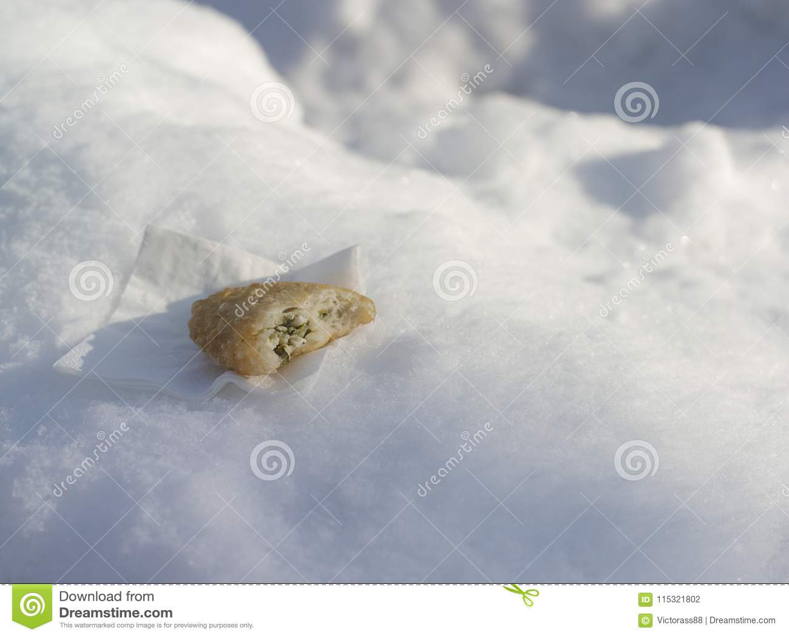 食物叮咬在雪的