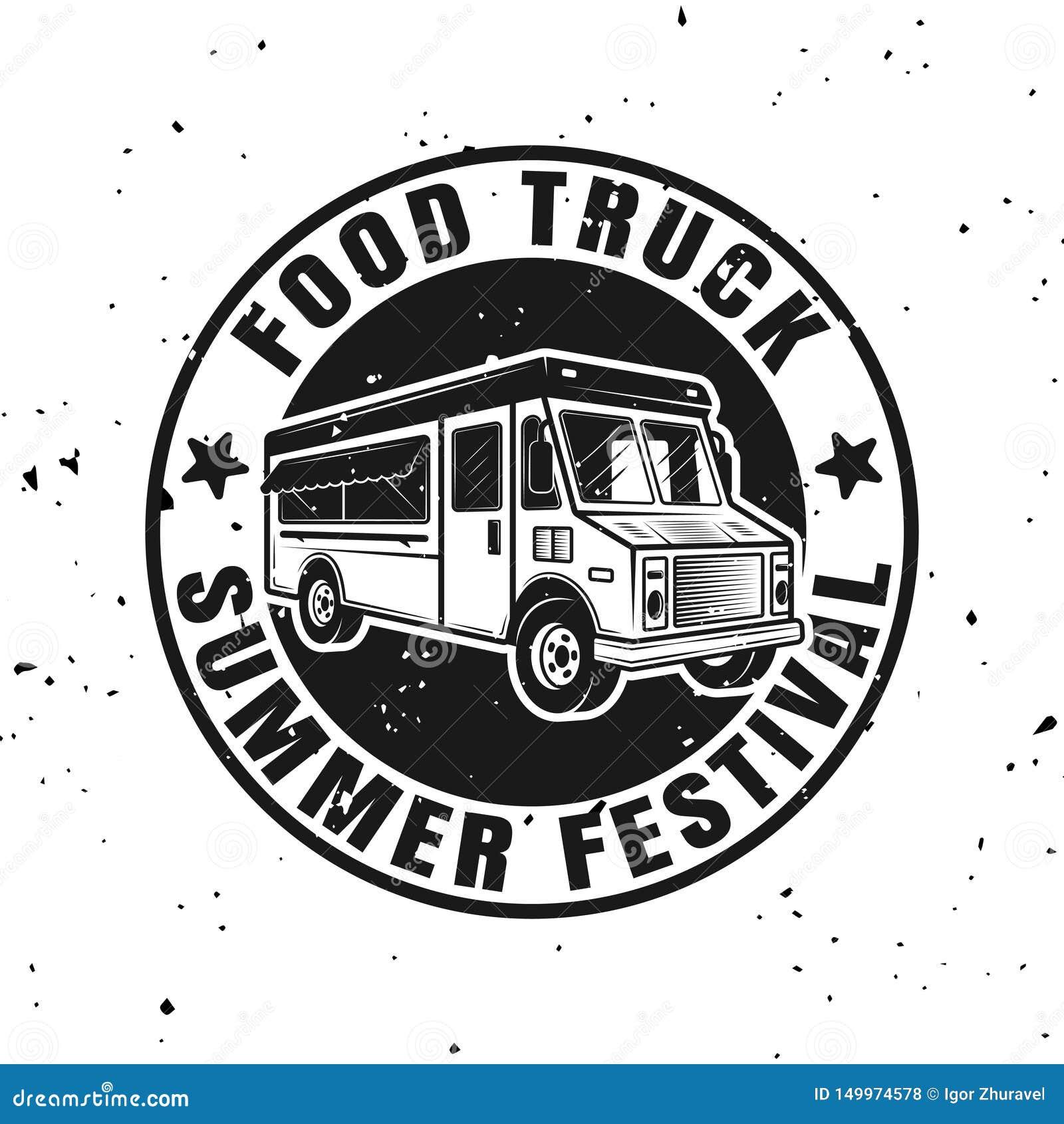 食物围绕单色象征,徽章的卡车传染媒介