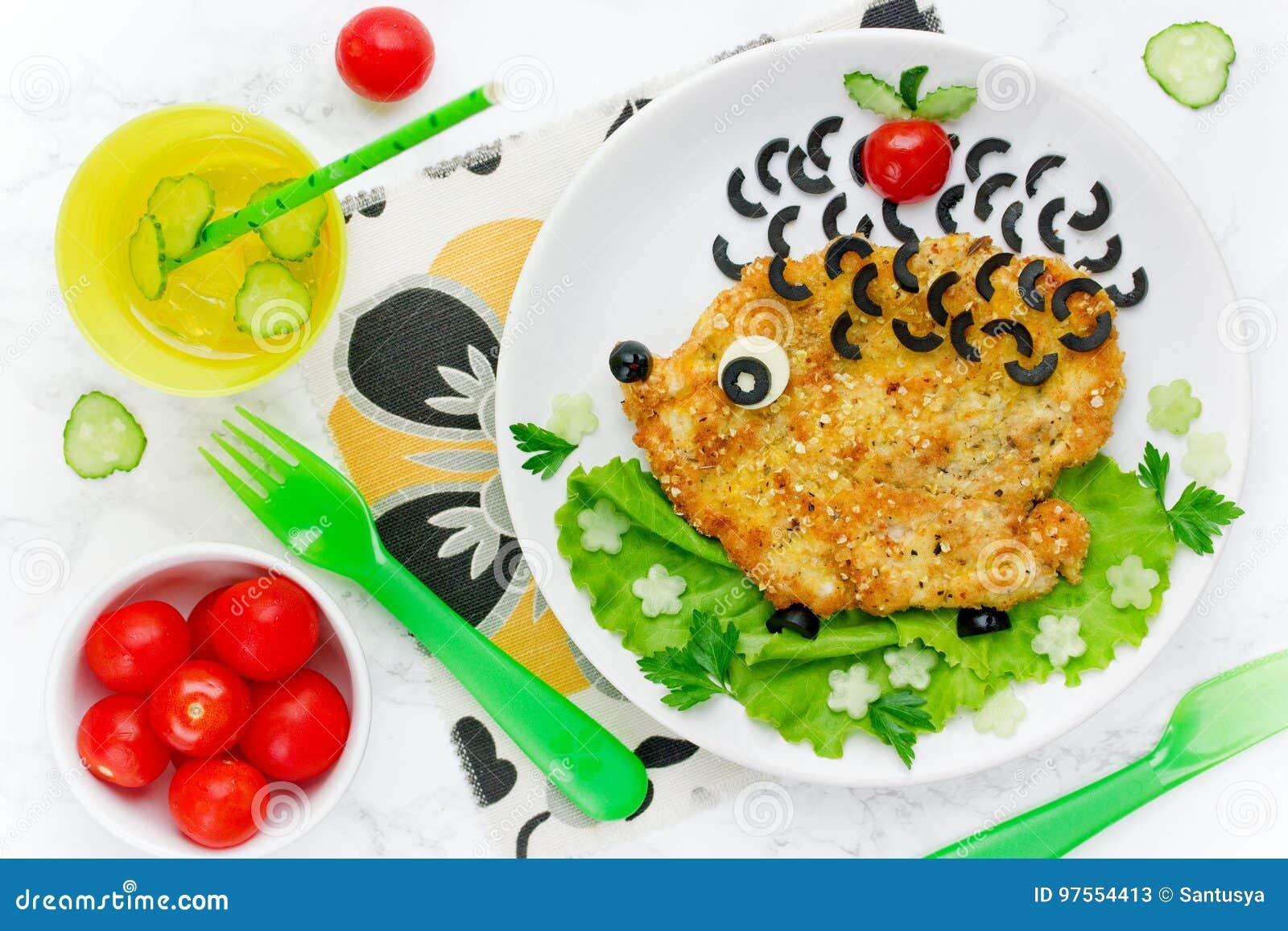 食物孩子的艺术想法吃午餐-与菜的鸡炸肉排