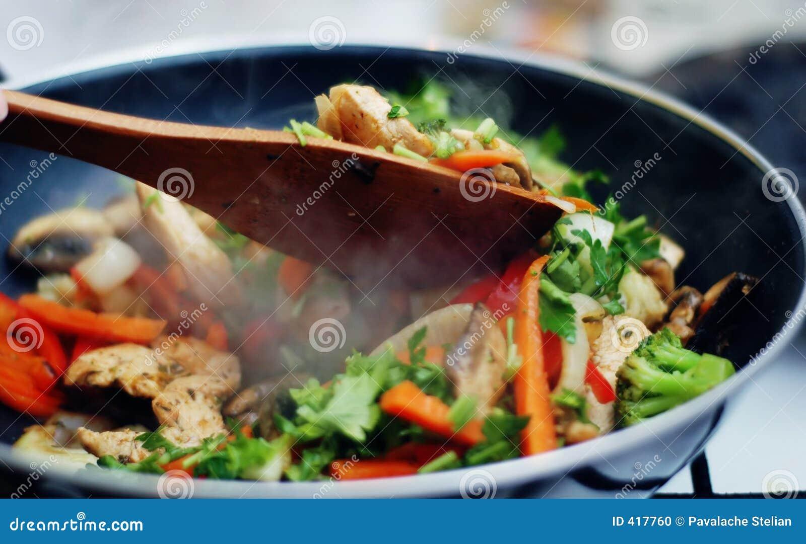 食物泰国油炸物的混乱