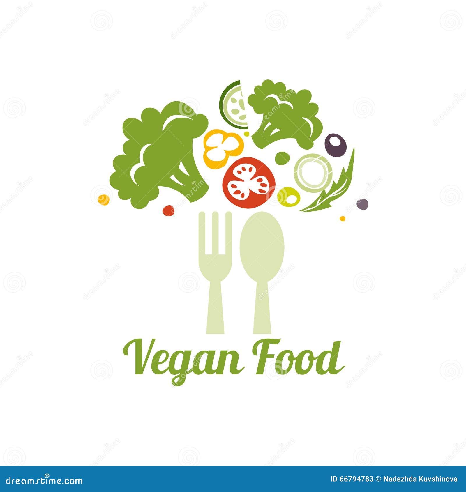素食食物标志 健康食物的创造性的商标设计观念