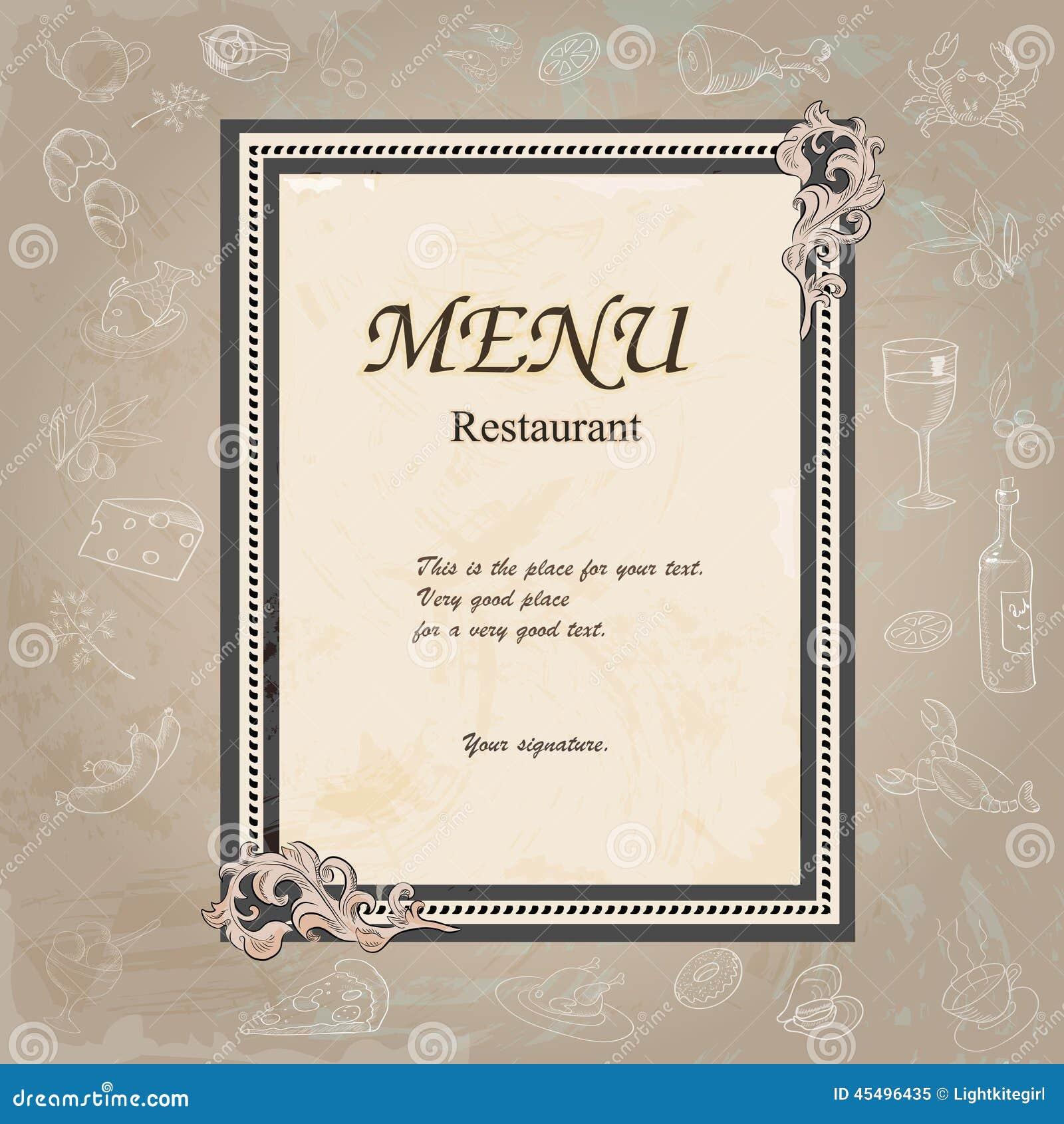 餐馆与老花卉框架的菜单设计