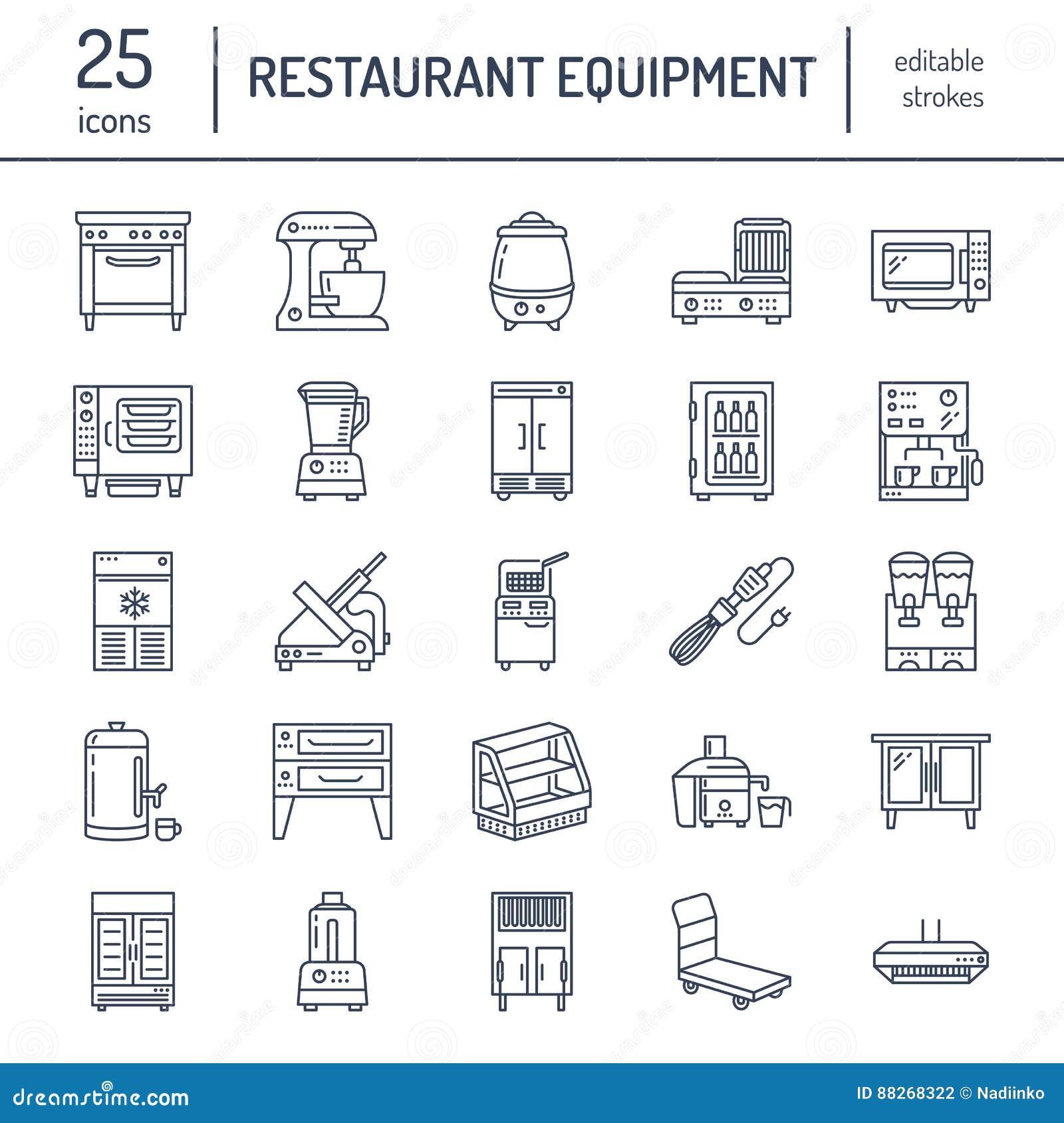 餐馆专业设备线象 厨房工具,搅拌器,搅拌器,炸锅,食品加工器,冰箱