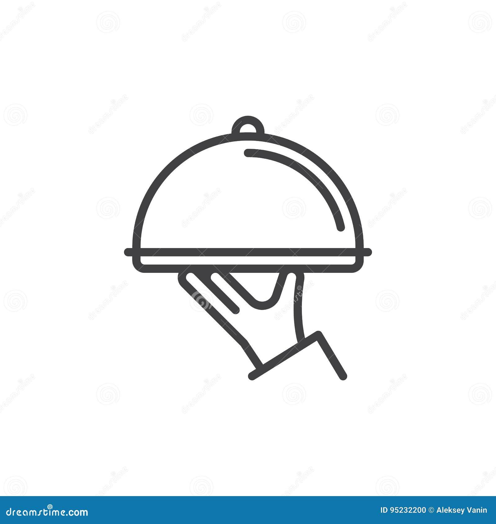 餐馆钓钟形女帽手中线象,概述传染媒介标志,在白色隔绝的线性样式图表