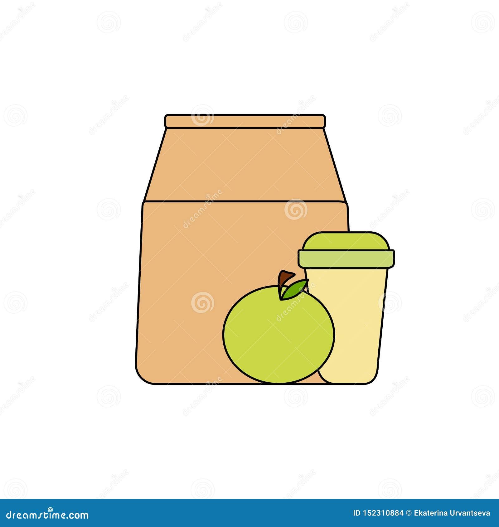 饭盒:纸袋、绿色苹果和咖啡在一纸杯 健康早餐,健康生活方式