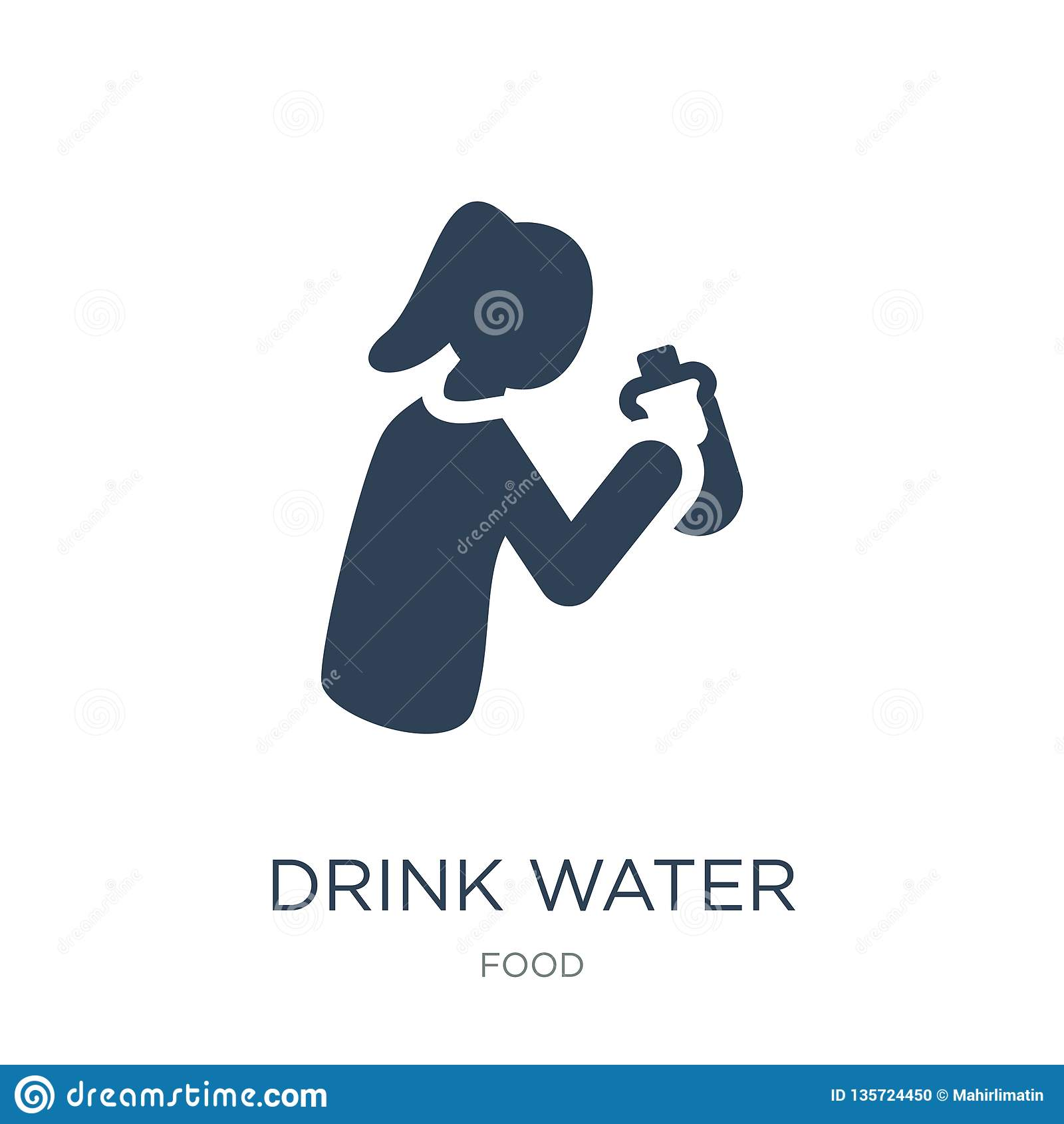 饮料在时髦设计样式的水象 饮料在白色背景隔绝的水象 饮料水现代传染媒介的象简单和