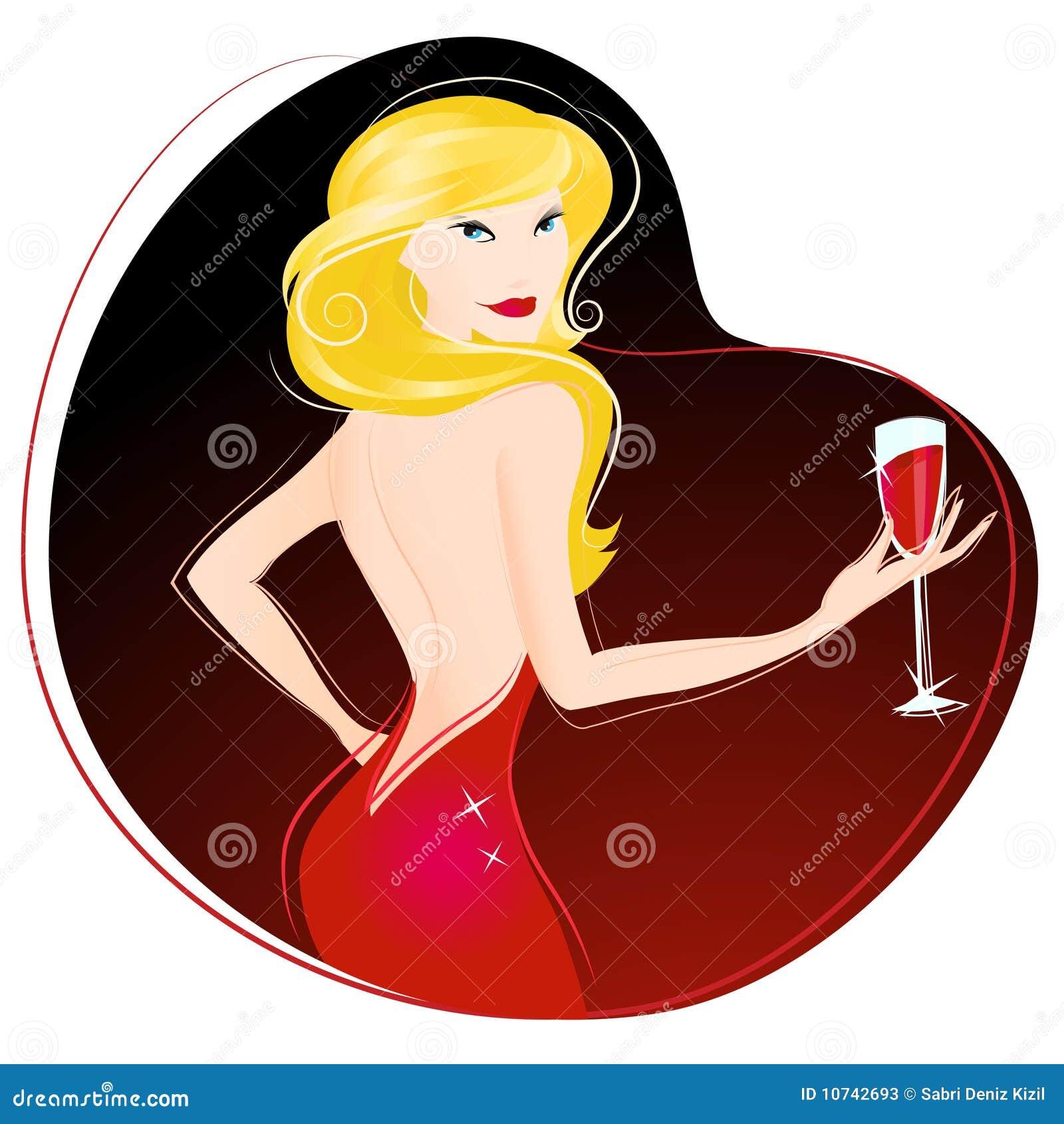 饮用的向量酒妇女