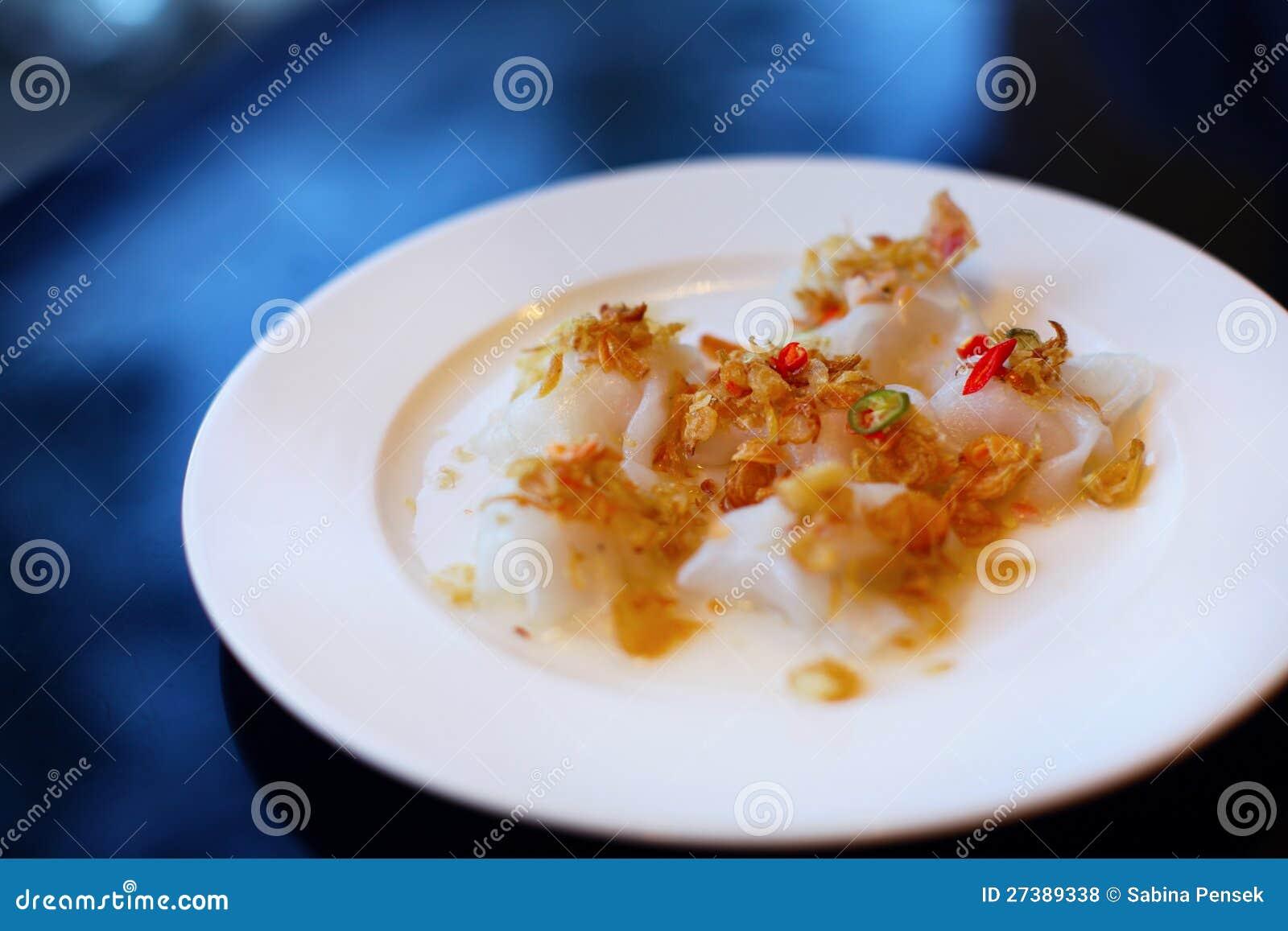 馄饨饺子用油煎的葱和辣椒