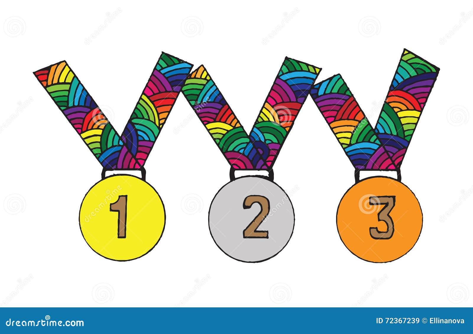 首先的奖牌,第二和第三名