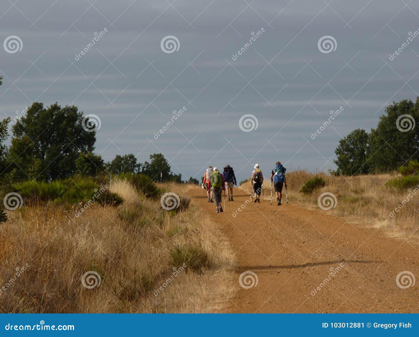 香客圣詹姆斯 走在Camino de圣地亚哥的人