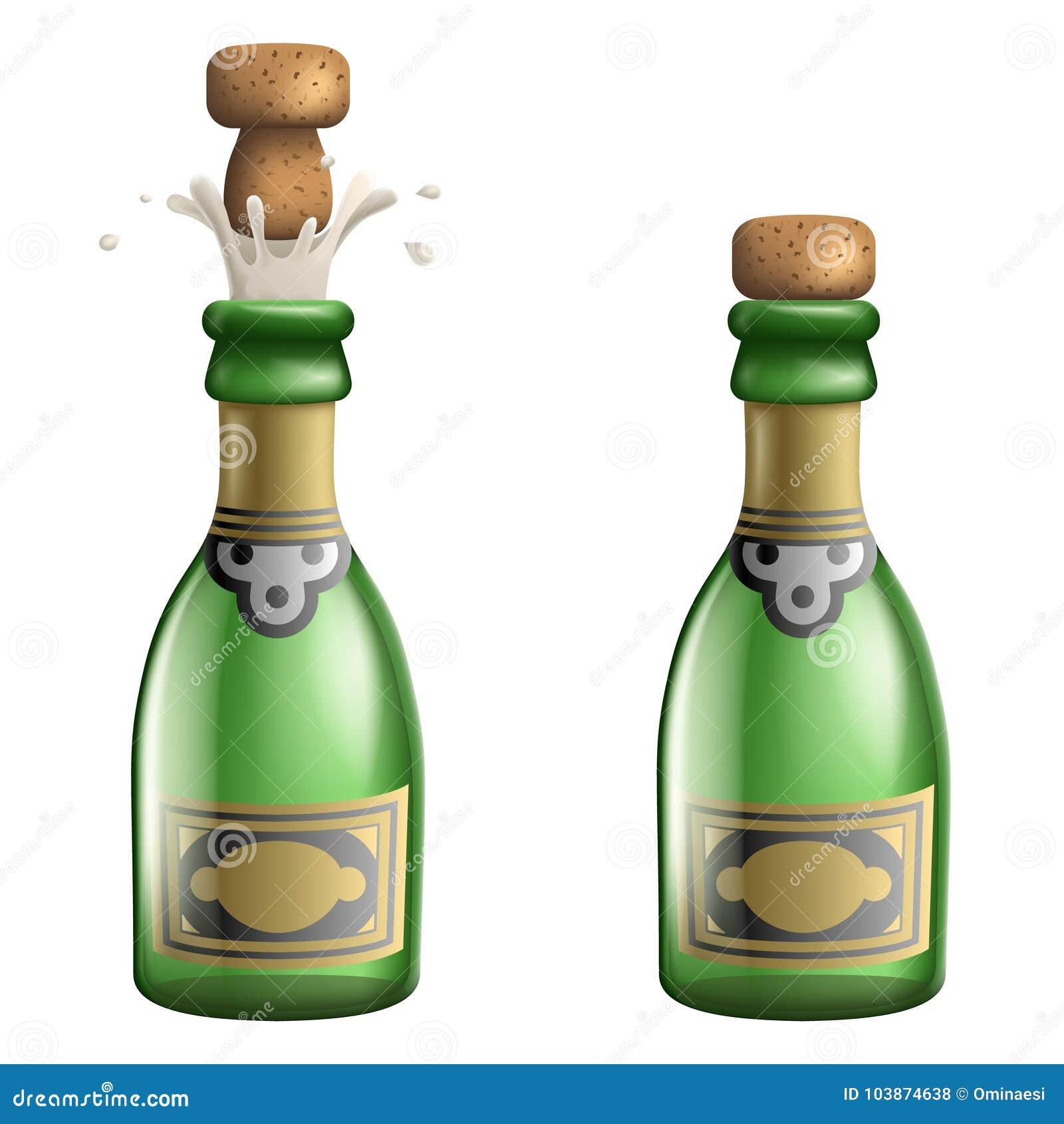 香宾流行的黄柏瓶承诺庆祝成功繁荣标志饮料象3d现实模板传染媒介