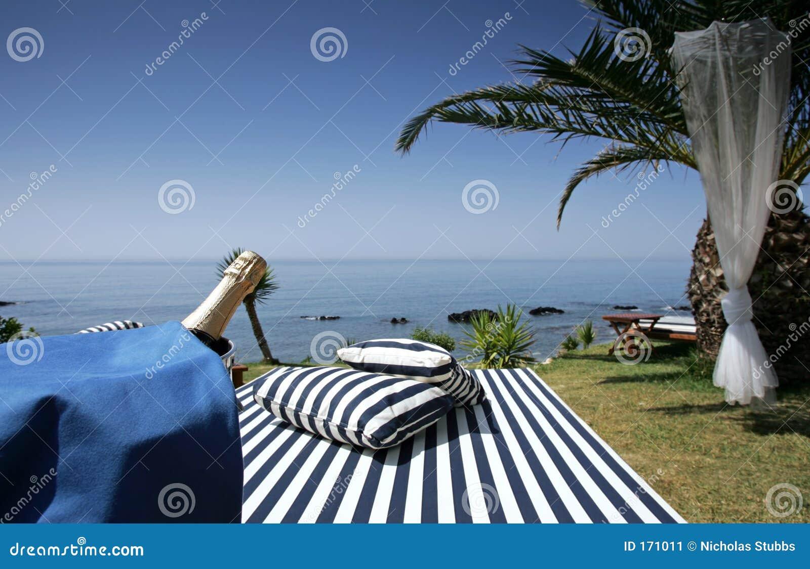 香槟海运sunlounger晴朗的视图
