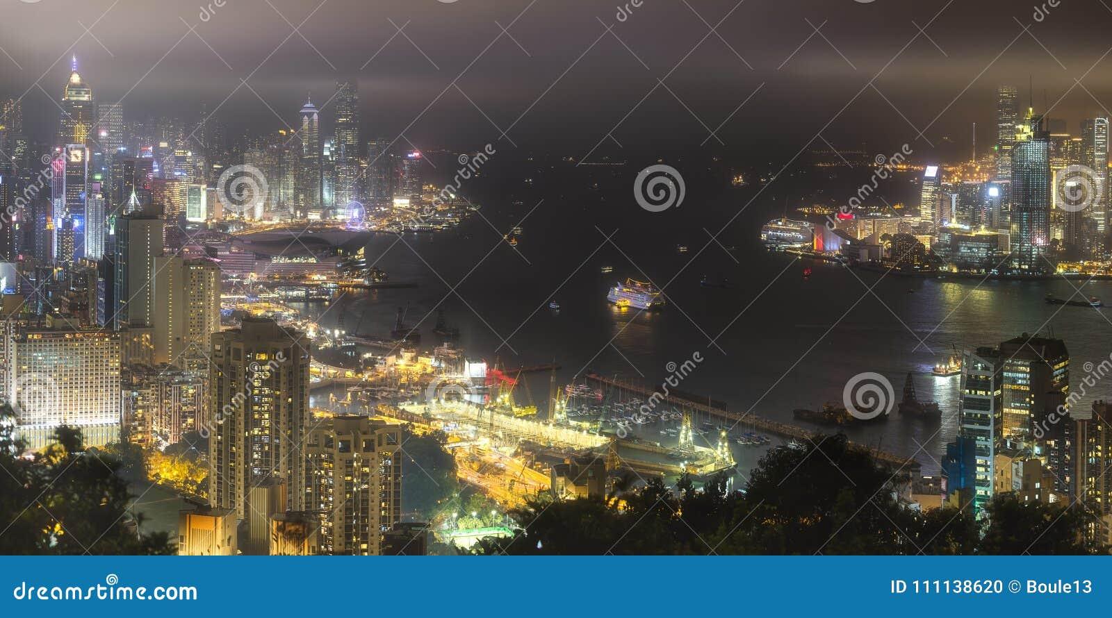香港地平线和港口鸟瞰图