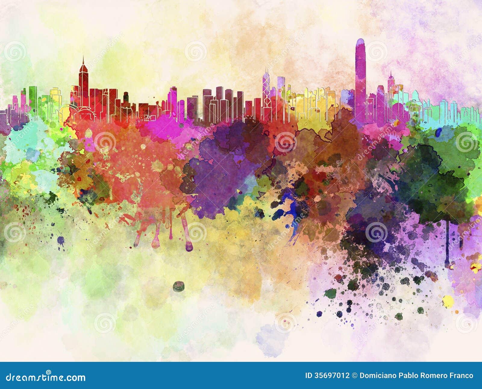 香港地平线在抽象水彩背景中.图片
