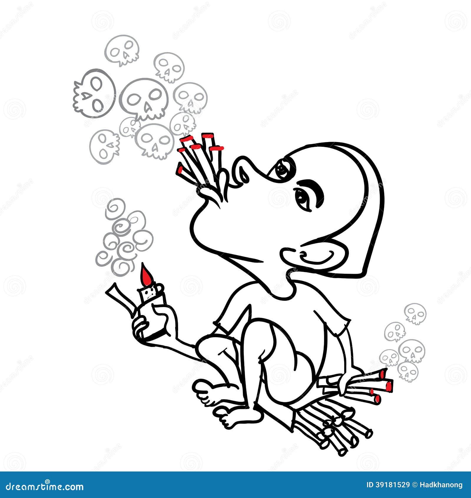 通过吹在头骨形状的牛供以人员烟香烟.