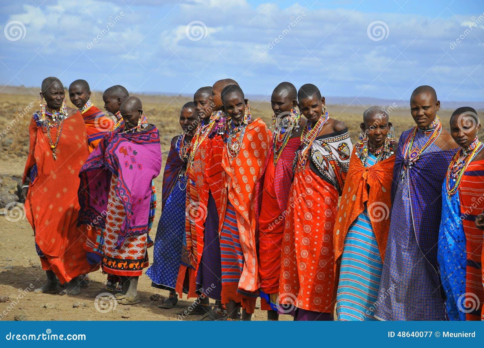 从马塞人部落的非洲人民 图库摄影片图片