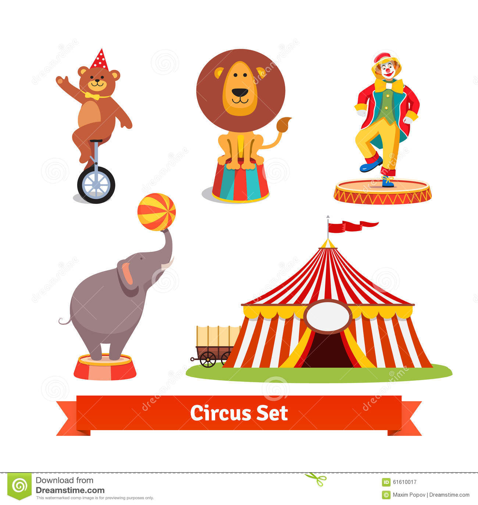马戏团动物,熊,狮子,大象,小丑图片