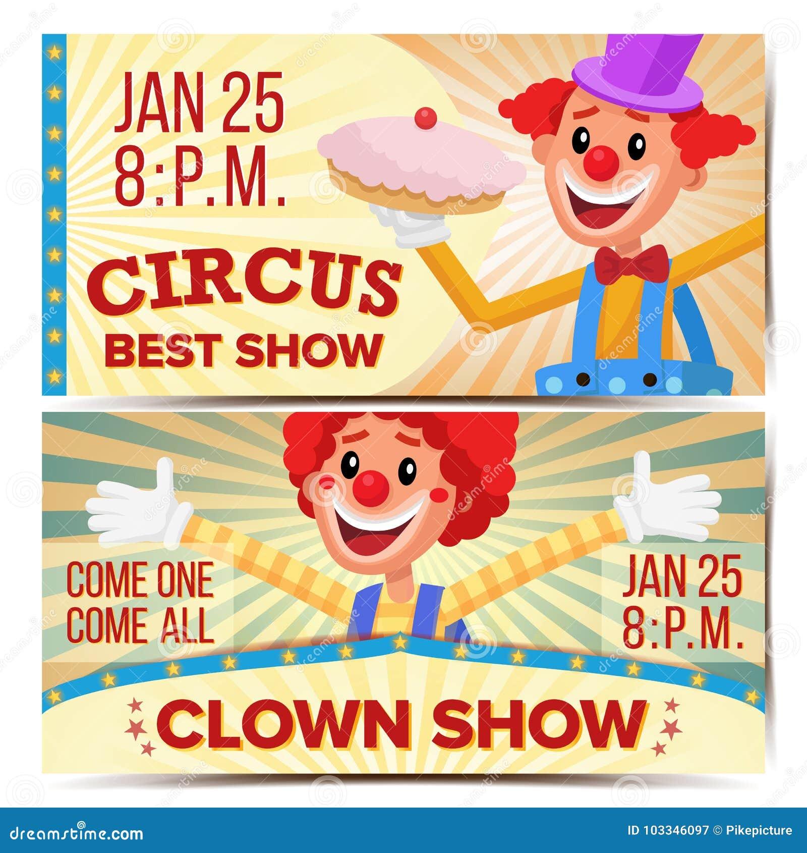 马戏团小丑水平的横幅模板传染媒介 巨大马戏展示概念 游乐园党 狂欢节节日