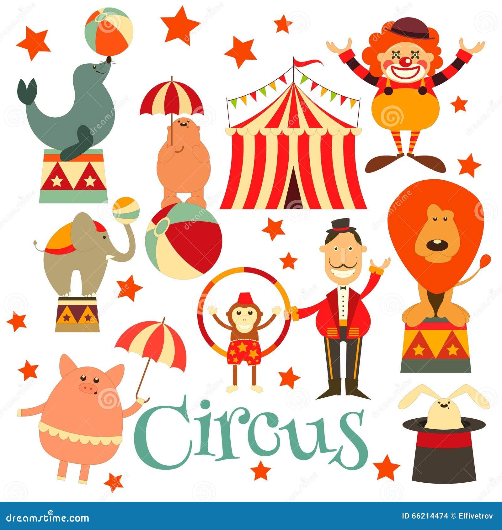 马戏娱乐被设置的标志象 动画片样式 马戏团动物和字符 也corel凹道图片