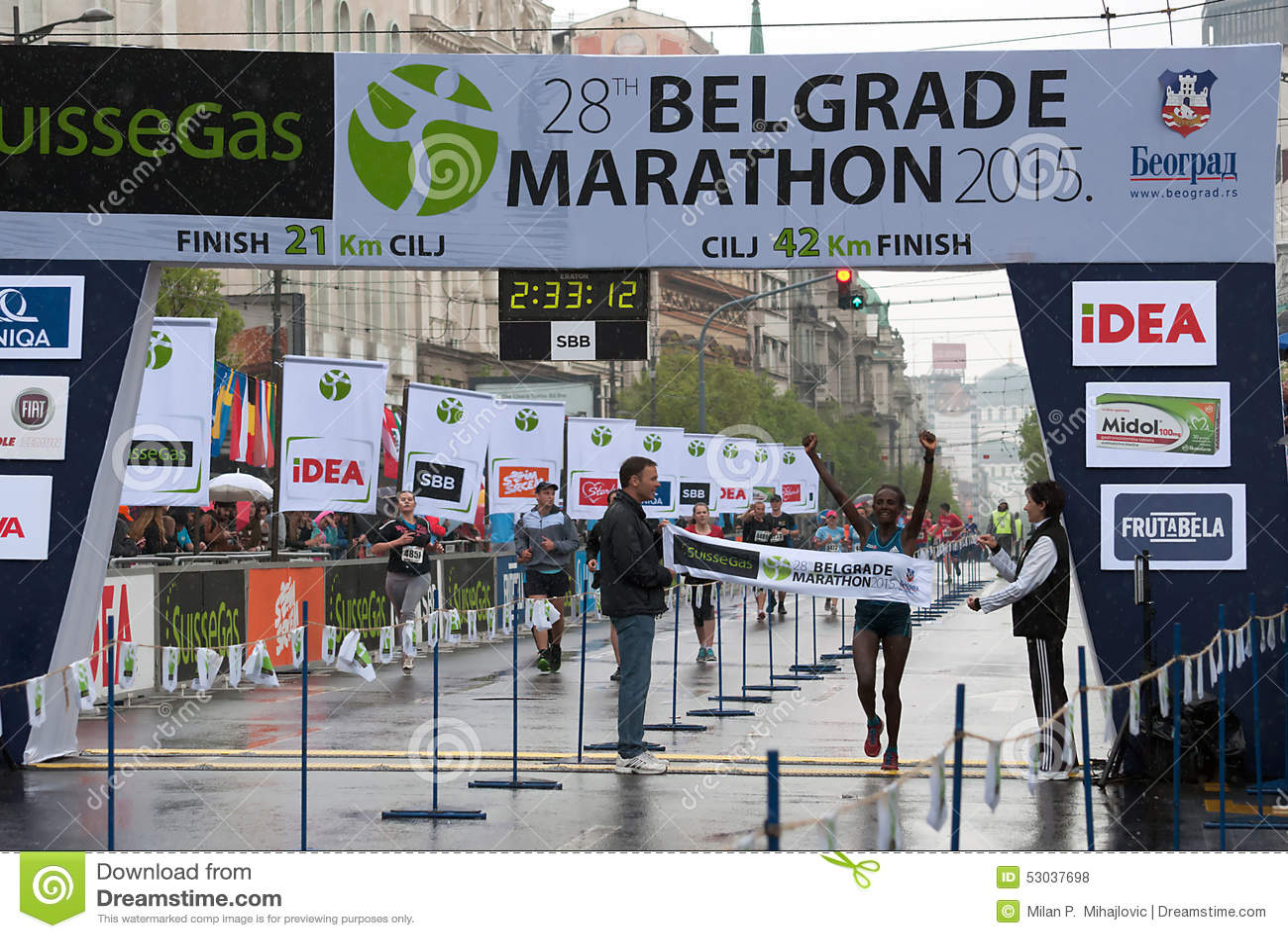 马拉松的优胜者妇女的