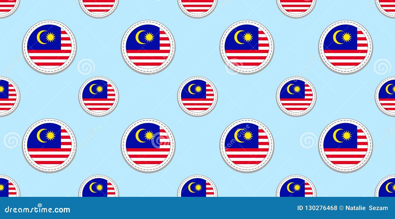 马来西亚回合旗子无缝的样式 马来西亚背景 传染媒介圈子象 几何标志 运动栏的纹理,comp