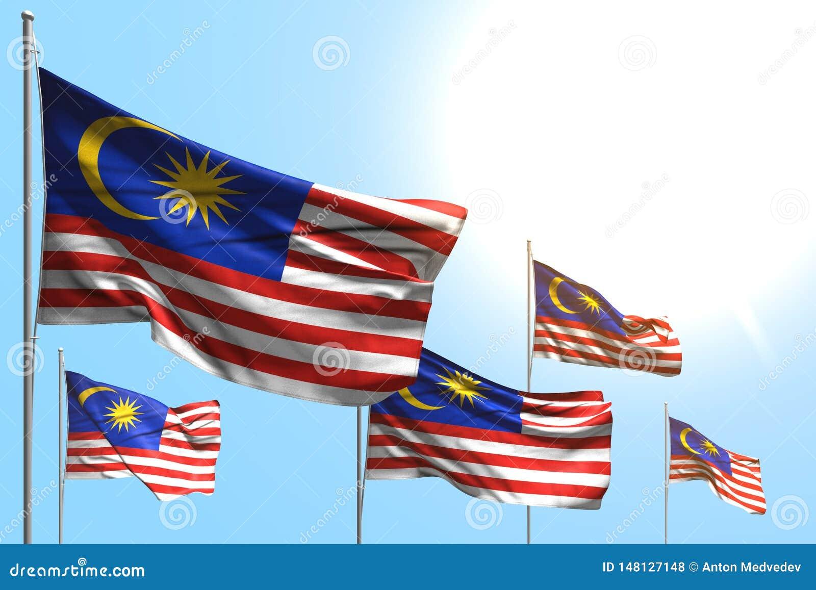 马来西亚的好的5面旗子是在天空蔚蓝背景-所有庆祝旗子3d例证的波浪