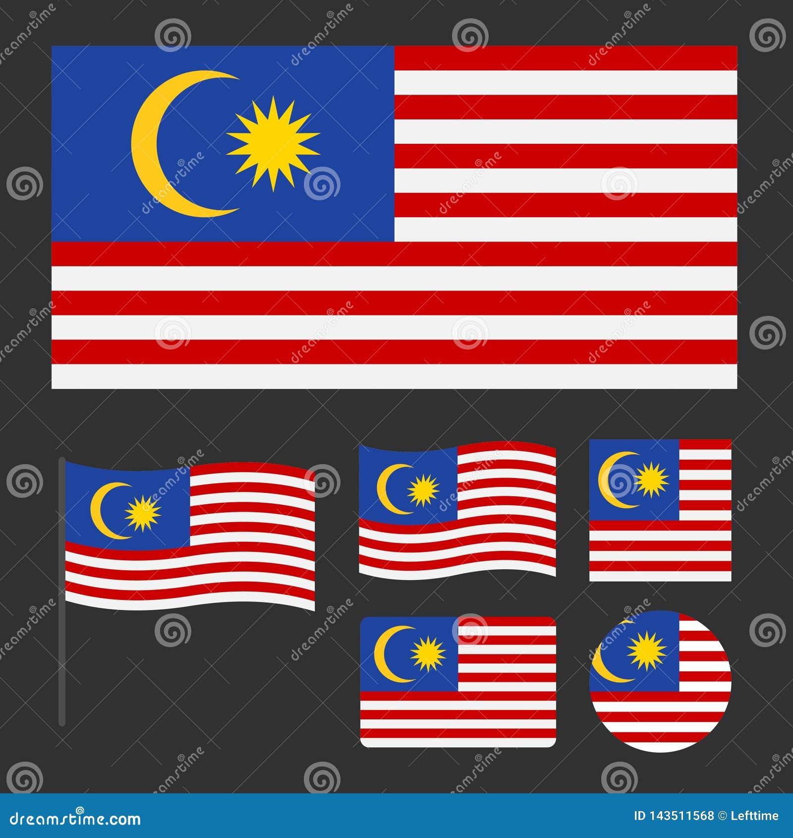 马来西亚的旗子有各种各样的比例和形状集合的