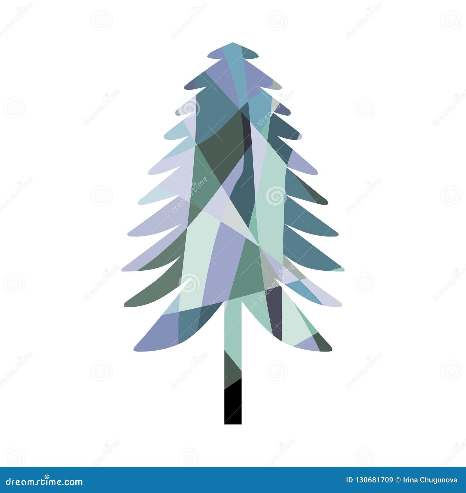 马赛克杉树剪影 着色