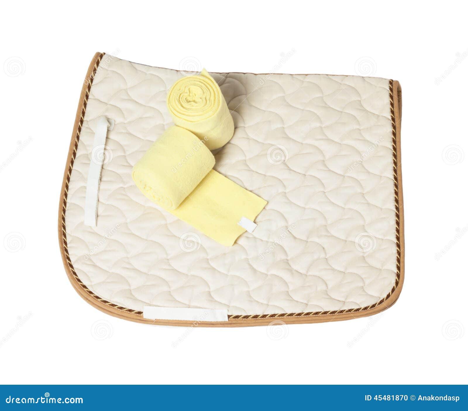 驯马香槟被隔绝的鞍布和黄色绷带