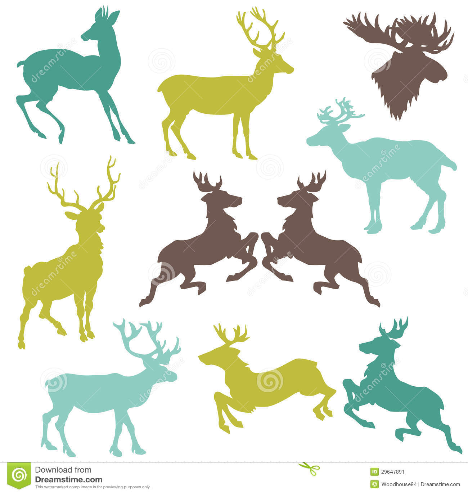 驯鹿圣诞节剪影