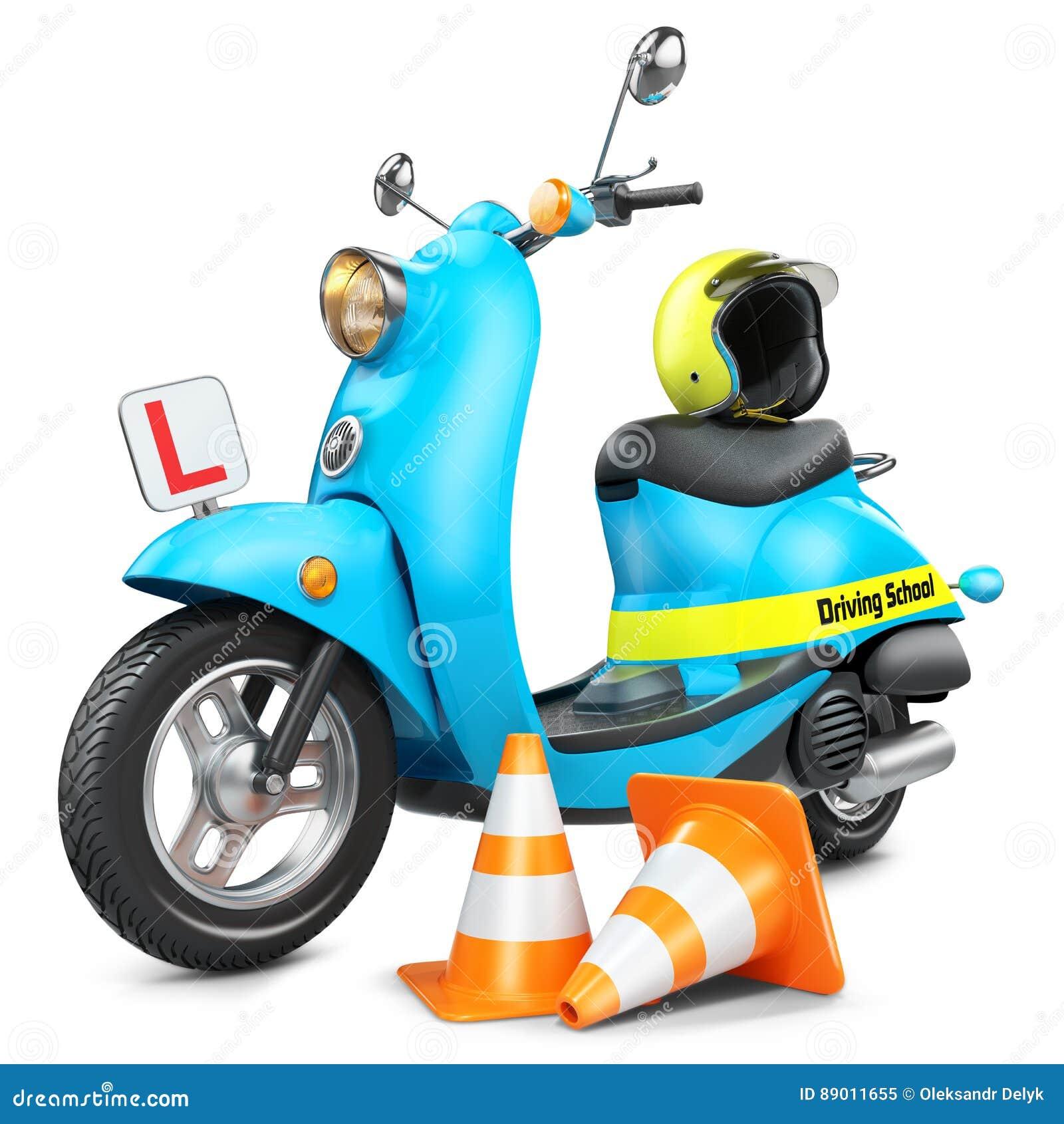 驾驶学校概念 经典滑行车、交通锥体和helme